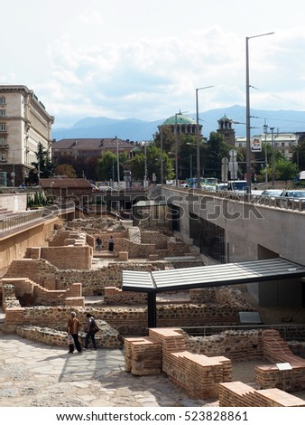 SOFIA, BULGARIA-SEPT. 19:  Ancient historic ruins site in middle of capital Sofia, Bulgaria surrounded by offices and government buildings is seen on September 19, 2016.