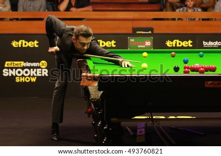 Sofia, Bulgaria - September 30: Mark Selby of England participates in snooker show The Eleven 30 Series 2016 against Ronnie Oâ??Sullivan in Hall Universiade, Sofia