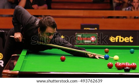 Sofia, Bulgaria - September 30: Ronnie Oâ??Sullivan participates in snooker show The Eleven 30 Series 2016 against Mark Selby in Hall Universiade, Sofia