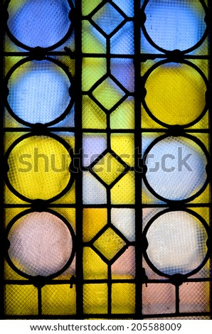 SOFIA, BULGARIA - SEPTEMBER 28  Stained glass window in St. Alexander Nevsky Cathedral is a Bulgarian Orthodox cathedral in Sofia, the capital of Bulgaria on september 28 2013 in Sofia Bulgaria - stock photo