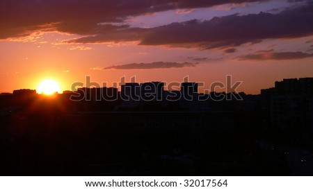 Sofia city skyline at sunset with beautiful sky illustration