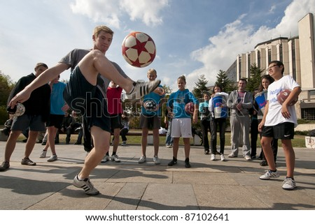 SOFIA - OCTOBER 15: World Champion Andrew Henderson performing at the Red Bull Street Style Practice Session in Sofia, Bulgaria on October 15th, 2011 - stock photo