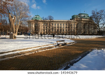 Sofia University at winter, Bulgaria