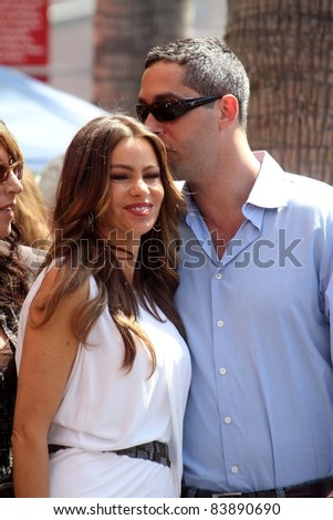 Sofia Vergara and Nick Loeb at the Ed O'Neill Hollywood Walk Of Fame Induction Ceremony, Hollywood, CA. 08-30-11 - stock photo
