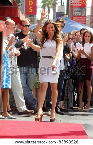 Sofia Vergara at the Ed O'Neill Hollywood Walk Of Fame Induction Ceremony, Hollywood, CA. 08-30-11 - stock photo