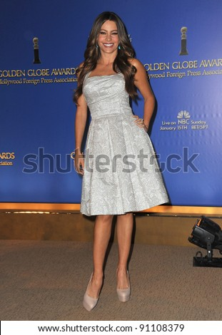 Sofia Vergara at the nominations announcement for the 2012 Golden Globe Awards at the Beverly Hilton Hotel. December 15, 2011  Beverly Hills, CA Picture: Paul Smith / Featureflash - stock photo