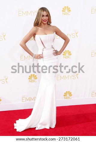Sofia Vergara at the 66th Annual Primetime Emmy Awards held at the Nokia Theatre L.A. Live in Los Angeles on August 25, 2014 in Los Angeles, California.  - stock photo