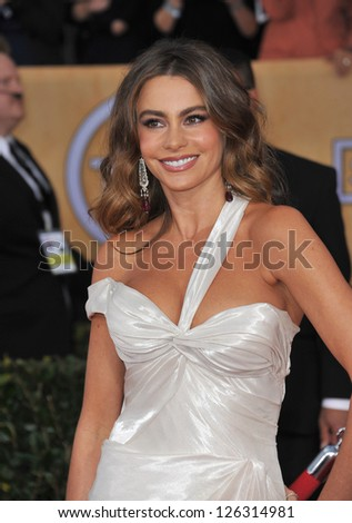 Sofia Vergara at the 19th Annual Screen Actors Guild Awards at the Shrine Auditorium, Los Angeles. January 27, 2013  Los Angeles, CA Picture: Paul Smith - stock photo
