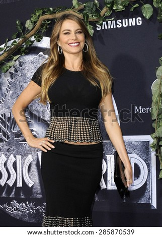 Sofia Vergara at the World premiere of 'Jurassic World' held at the Dolby Theatre in Hollywood on June 9, 2015.  - stock photo