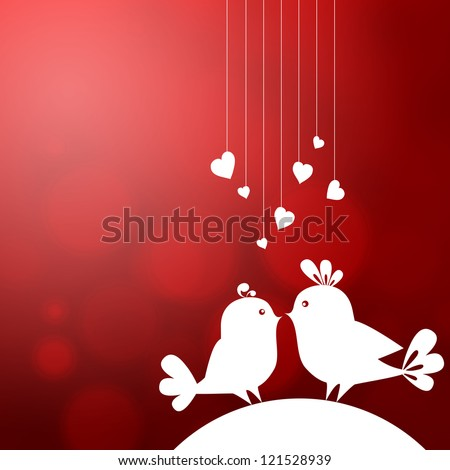 Soft abstract background with two birds in love - stock photo
