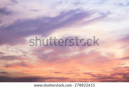 Soft and beautiful sunset sky. - stock photo