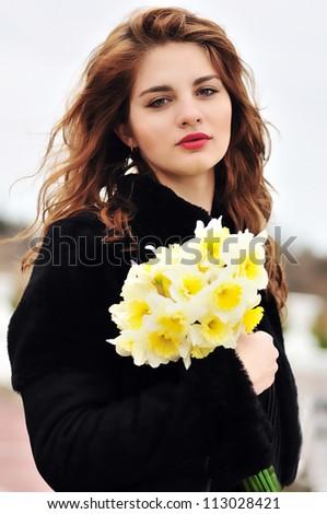 soft and calm portrait of pretty girl - stock photo