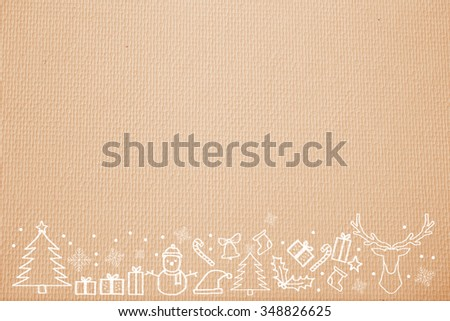 soft and smooth paper background texture with handwritten adorable doodle of Christmas festival celebration decorate.orange color wallpaper with symbolic cartoon of xmas day concept. - stock photo