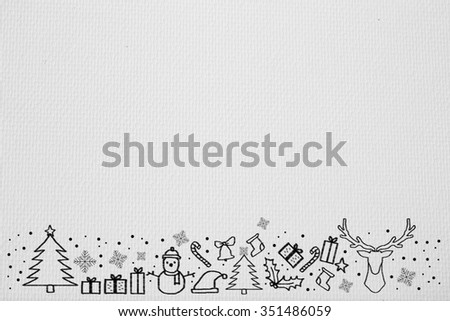 soft and smooth white sketch paper background texture with hand drawing adorable doodle of Christmas festival celebration decorate.space wallpaper with symbolic cartoon of xmas day concept for design. - stock photo