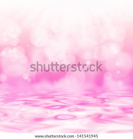 soft background abstract texture with lights cycle bokeh and reflect on water - stock photo
