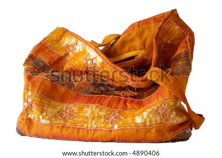 Soft bag isolated on white. - stock photo