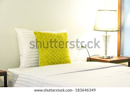 Soft Bed Pillow in Bed - stock photo