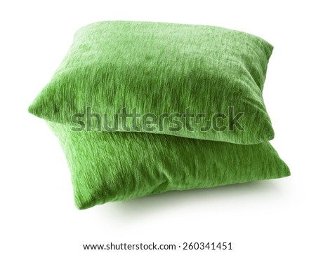 Soft blank green pillows on white background