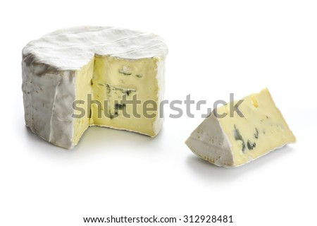 soft blue cheese from France with wedge cut isolated on a white background - stock photo