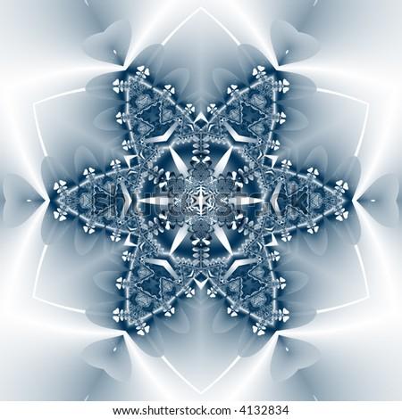 soft blue fractal snowflake - stock photo