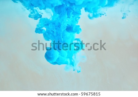 Soft blue ink pattern underwater - stock photo