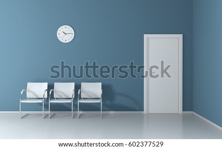 Soft blue waiting room with white chairs and wall clock 3D render