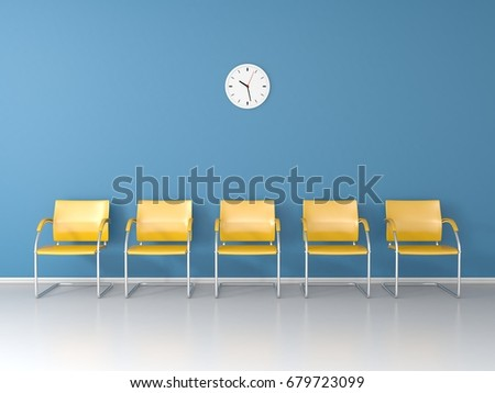 Soft blue waiting room with yellow chairs and wall clock 3D render