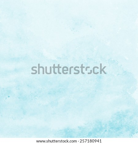 soft blue watercolor texture background, hand painted - stock photo