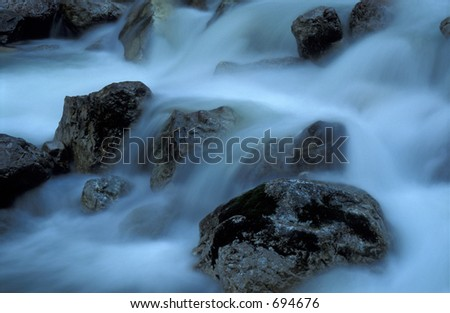 soft blue waterfall - has noise - stock photo