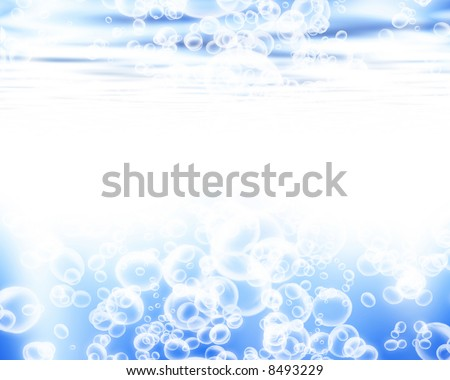 Soft blue waves with air bubbles