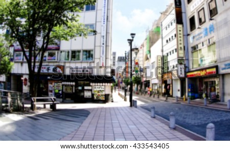 Soft blurred asian urban background. Unfocused Tokyo street, Japan.  - stock photo