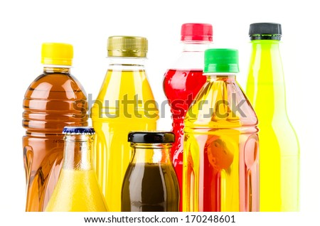 Soft bottle drink isolated white background