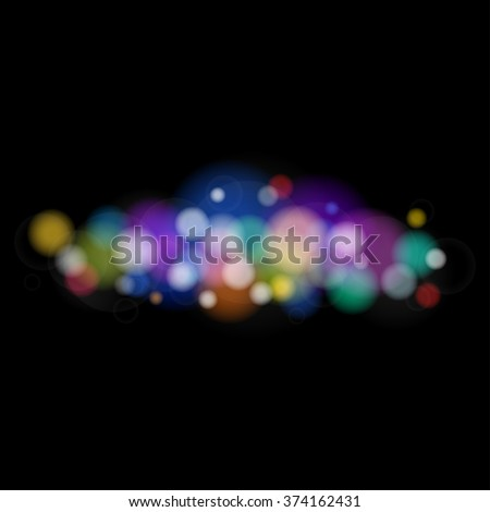 Soft Bright Abstract Bokeh Background ,Bright Colored Lights on Black Background, Defocused Lights - stock photo