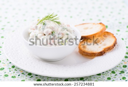 Soft cheese spread with salmon and green onions, selective focus  - stock photo