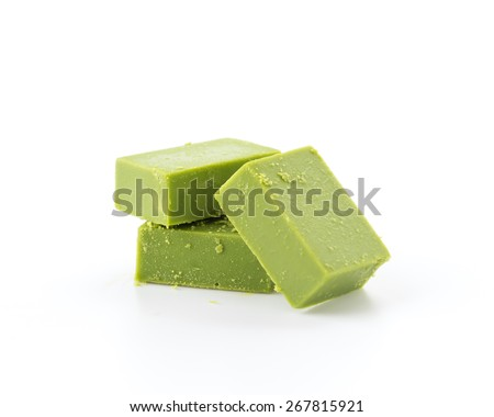 soft chocolate green tea on white background - stock photo