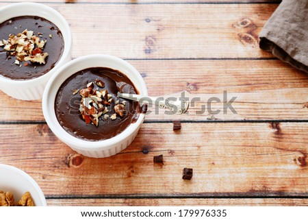 soft chocolate pudding, top view, food - stock photo
