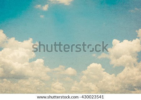 soft cloud and sky with grunge paper texture
