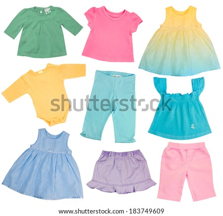 Soft color baby clothes collage.Girl clothing isolated on white. - stock photo