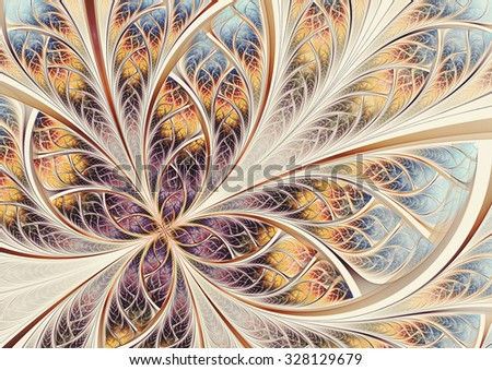 Soft color fantasy artistic flower. Beautiful abstract decorative background. Fractal artwork for creative vintage graphic design - stock photo