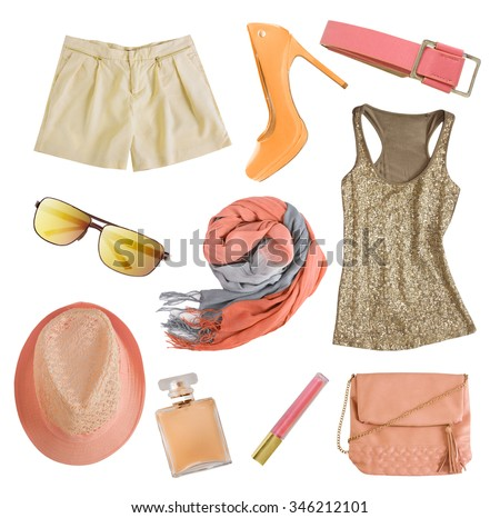 Soft colors female apparel. Woman clothes and accessories collage isolated.Pale colors fashion set. - stock photo