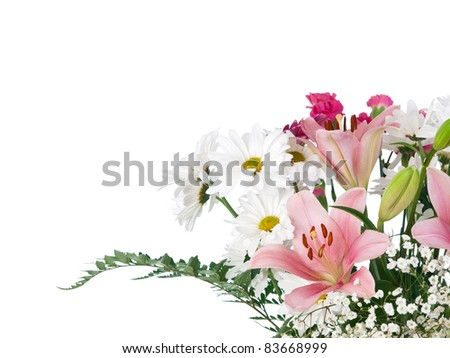 Soft colors flowers bouquet on pure white background - stock photo