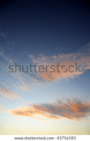 Soft colors in a beautiful sky. - stock photo