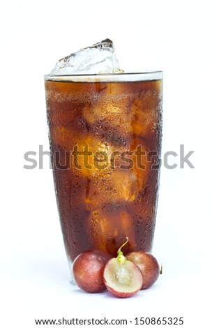 soft drink with fresh grapes on white background.