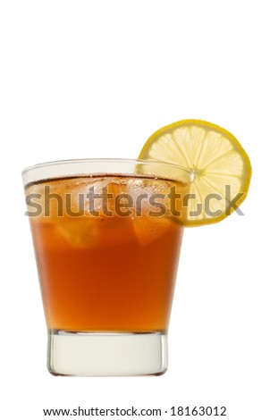 Soft drink with lemon isolated on white