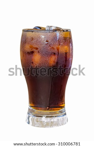 Soft drinks in glass on a white background.