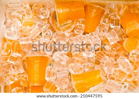 Soft drinks in plastic cups  - stock photo