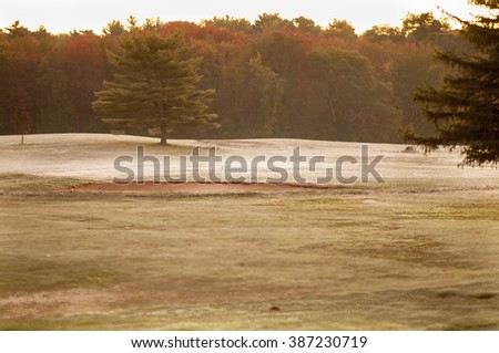 Soft, early morning light on golf course in autumn - stock photo