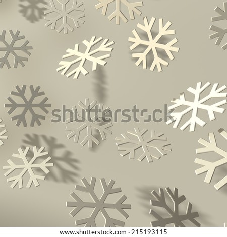 Soft easy bevel snowflakes with shadow - stock photo