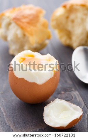 Soft egg with fresh baguette