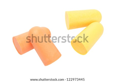 Soft Foam Ear Plugs on White Background - stock photo